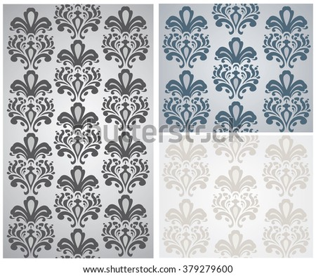 Vector Baroque ornament pattern set. Design for wallpapers, textures or invitation card. Purple and gold color - stock vector