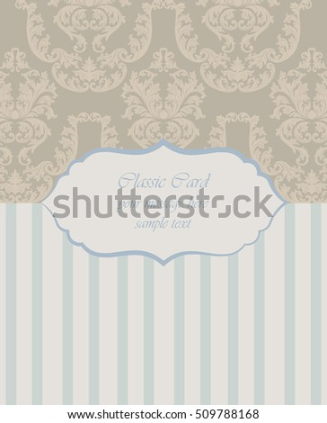 Vector Baroque Vintage floral damask card or invitation. Luxury Classic ornament, royal Victorian texture for wallpapers, textile, fabric