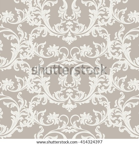 Vector Baroque Vintage floral damask pattern element background. Luxury Classic Damask ornament, royal Victorian texture for wallpapers, textile, fabric