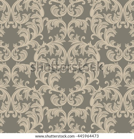 Vector Baroque Vintage floral Damask pattern. Luxury Classic ornament, Royal Victorian texture for wallpapers, textile, fabric. Gray color