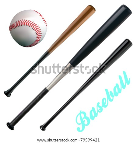 vector baseball and bats - stock vector