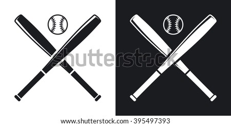 Vector Baseball Bats Ball Icon Twotone Stock Vector 395497393 ...