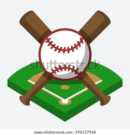Vector baseball field, ball, and bat composition - stock vector