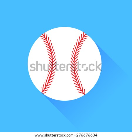 Vector Baseball Isolated on Blue Background. Long Shadow. - stock vector