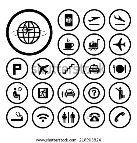 vector basic icon set for airport  - stock vector