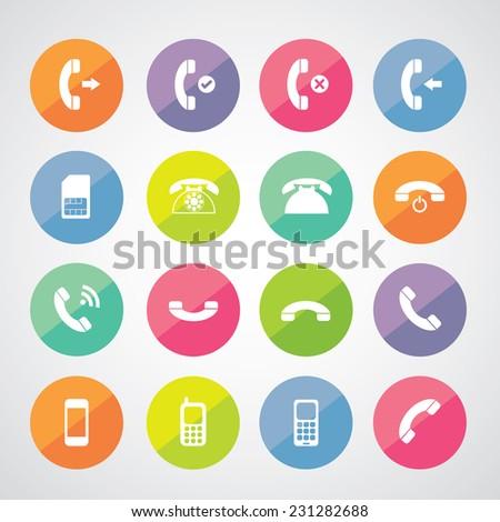 vector basic phone icon set  - stock vector