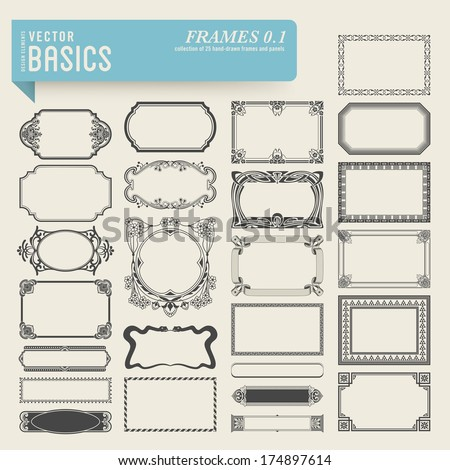 vector basics: collection of 25 detailed hand-drawn frames and panels in various styles - stock vector