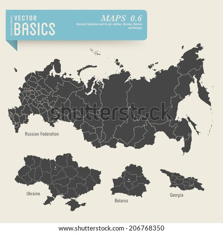 vector basics: detailed maps of the Russian Federation, Ukraine, Belarus and Georgia with their administrative/political divisions  - stock vector