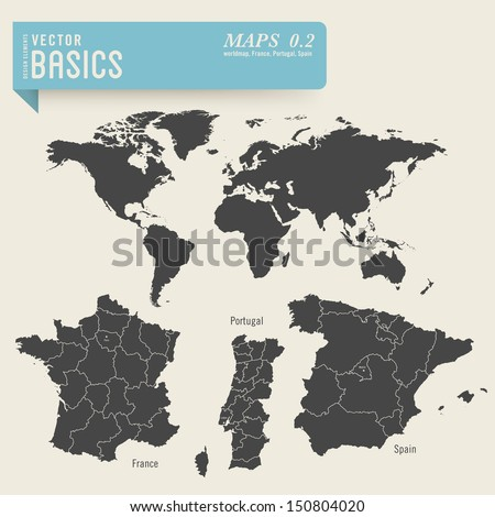 vector basics: worldmap and detailed maps of France, Portugal and Spain - stock vector
