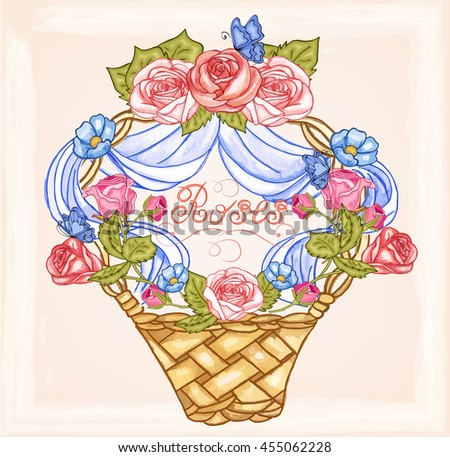 Vector basket with rose branch for design,banners, invitation of the wedding, birthday,Valentine's Day, Mother's Day, gift cards, congratulation.Flowers with butterflies in the Garden.Floral elements. - stock vector