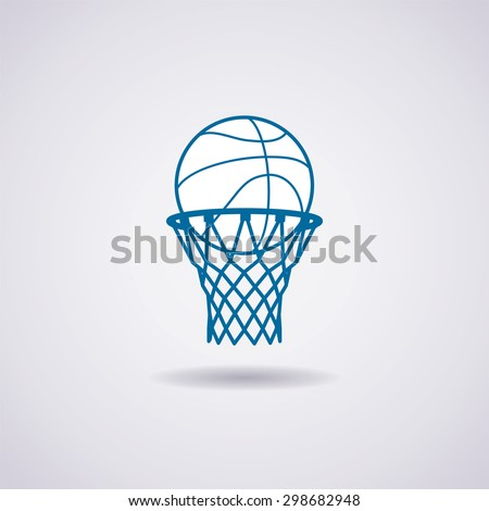 vector basketball ball and net icon - stock vector