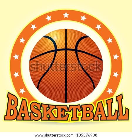 Vector basketball ball & star - stock vector
