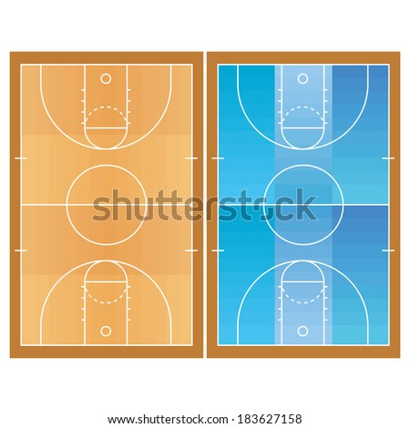 Vector Basketball Field  Isolated On White Background