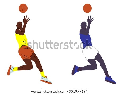 vector basketball player . color sketch on white background