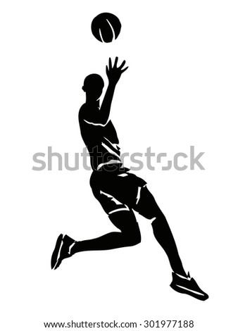 vector basketball player . grunge sketch on white background