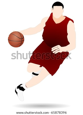 vector basketball player in the red shirt