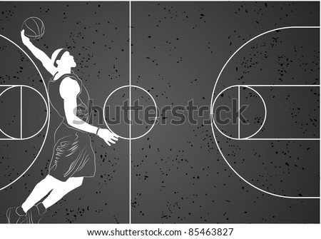 Vector basketball player on gray background - stock vector