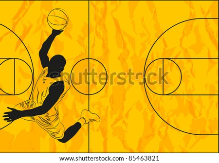 Vector basketball player on orange background (illustration) - stock vector