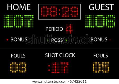 Vector Basketball Scoreboard - stock vector