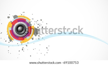 Vector bass background with speaker and wave - stock vector