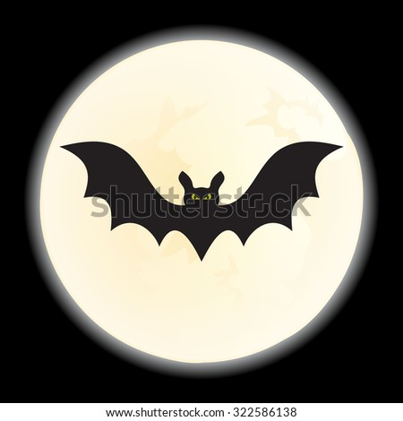 Vector Bat against a disk of the moon and a scattering of night - stock vector