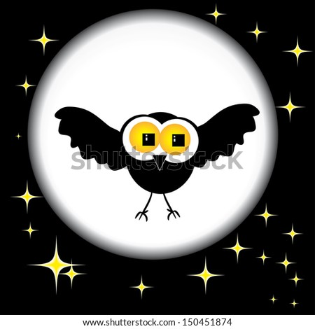 vector bat against the starry sky and the moon - stock vector