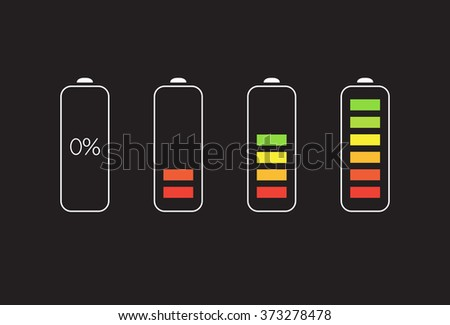 Vector Battery Accumulator Charge Icon or Symbol Set - stock vector