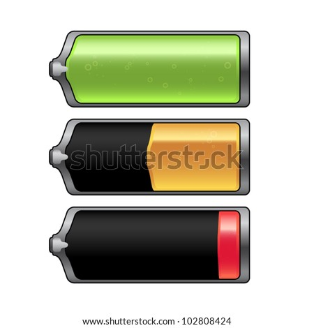 Vector battery - charge status - stock vector
