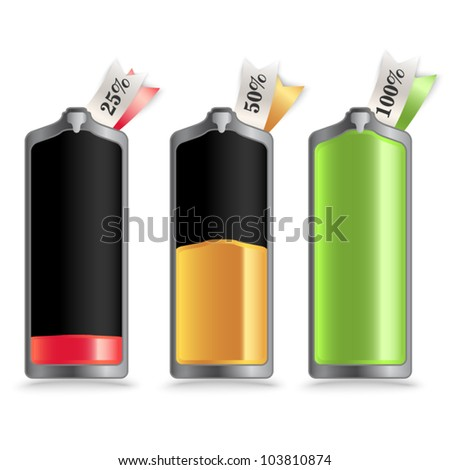Vector battery - charge status with small labels - stock vector