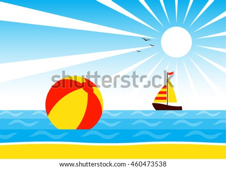 vector beach ball and sailboat floating on the sea