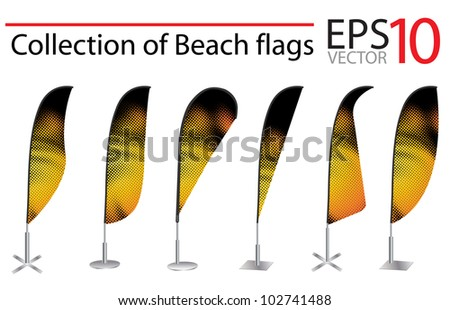 Vector Beach Flag banner stand display, with identity background ready for use. - stock vector