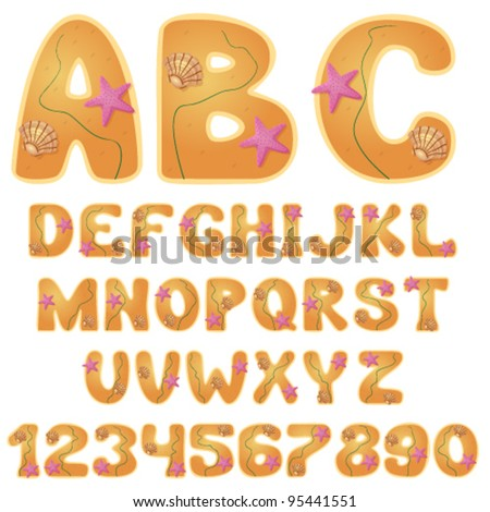 vector beach font with digits - stock vector