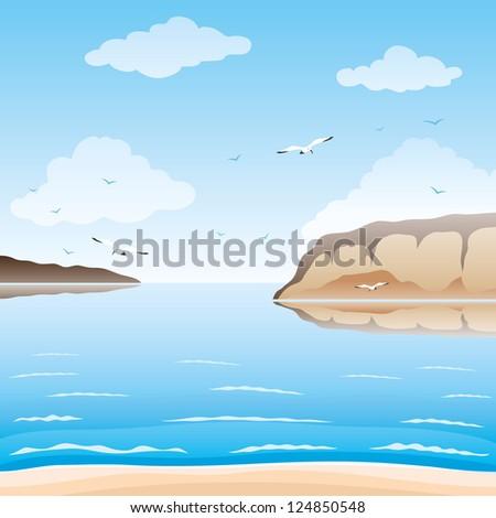 Vector. Beach illustration. - stock vector