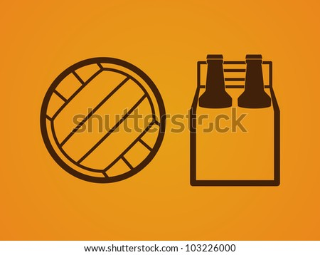 Vector beach party icons of a volleyball and beer four-pack - stock vector