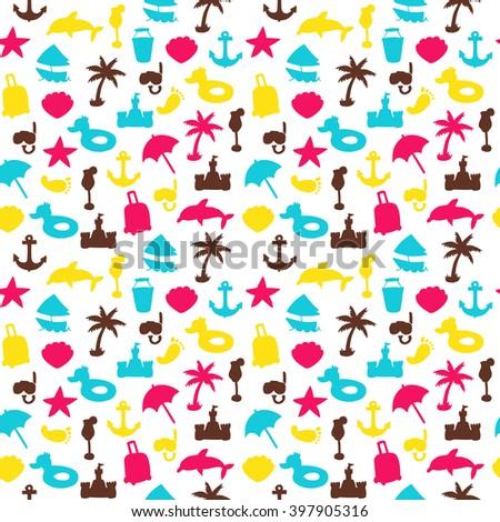 Vector Beach Pattern Summer Endless Texture Stock 397905316 Wallpaper Fill