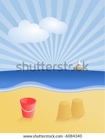 Vector Beach Scene. - stock vector