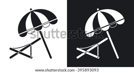 Vector beach umbrella and deck chair icon. Two-tone version on black and white background