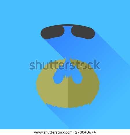 Vector Beard and Sunglasses Icon Isolated on Blue Background. - stock vector