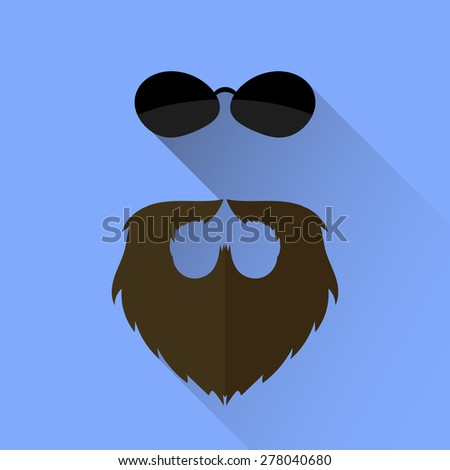 Vector Beard and Sunglasses Icon Isolated on Blue Background. Long Shadow. - stock vector