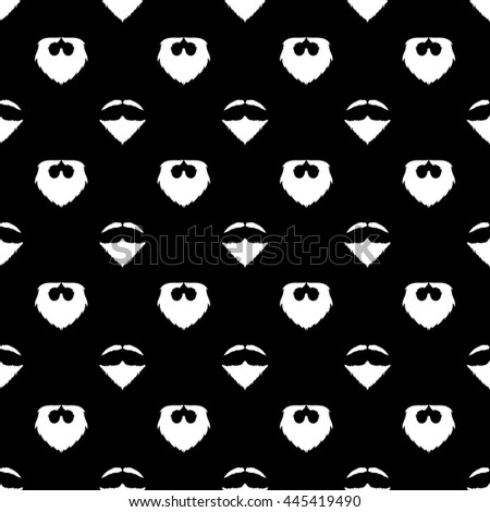 Vector Beard Silhouette Seamless Pattern. Mustache Barber Background - stock vector