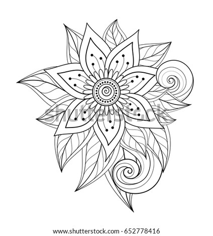 Vector Beautiful Abstract Monochrome Floral Composition With Flowers Leaves And Swirls Design Element In