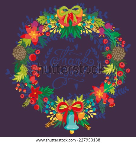 Vector beautiful and bright Christmas Illustration of wreath. - stock vector