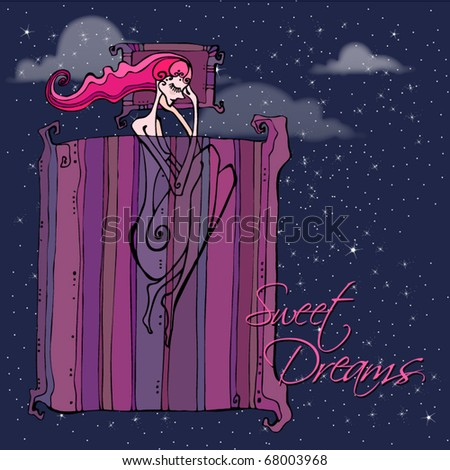 vector beautiful background with illustrated sleeping girl