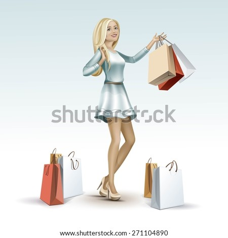 Vector Beautiful Blonde Woman Girl Female in a Fashion Dress on High Heels with Long Hair and Legs with Shopping Bags Isolated on Background - stock vector