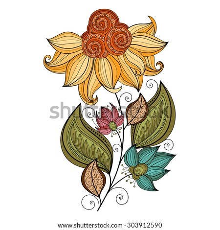 Vector Beautiful Colored Contour Flower, Floral Design Element - stock vector