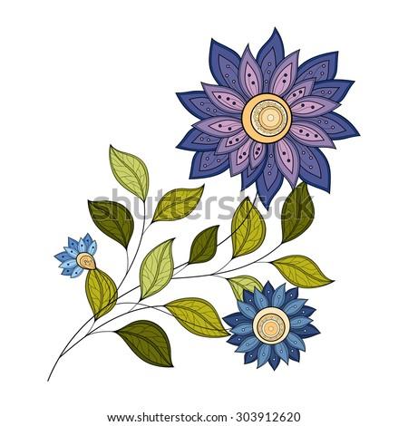 Vector Beautiful Colored Contour Flower, Floral Design Element - stock vector
