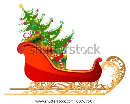 Vector beautiful, cute, detailed illustration of Santa's sleigh with gifts and Christmas tree - stock vector