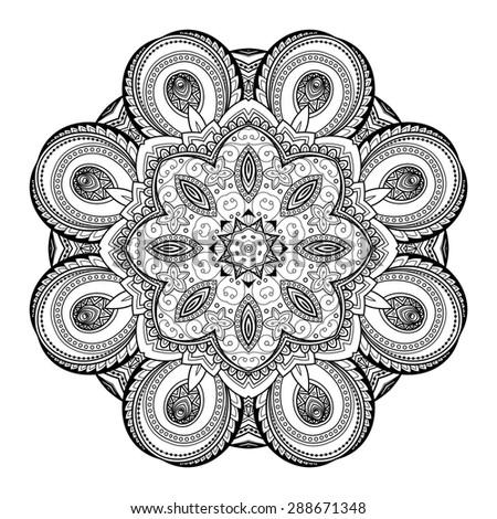 Vector Beautiful Deco Black Mandala, Patterned Design Element, Ethnic Amulet - stock vector