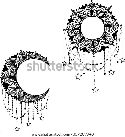 Vector Beautiful Deco Black Moon and Sun Mandala, Patterned Design Element, Ethnic Amulet - stock vector