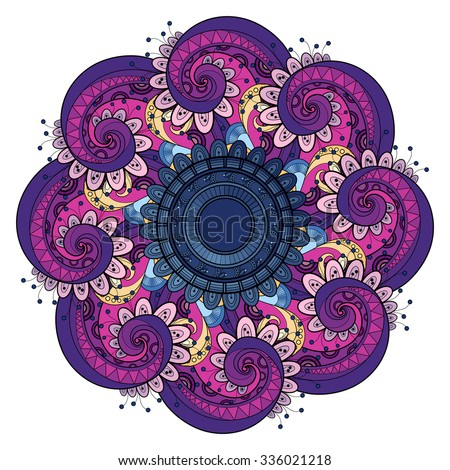 Vector Beautiful Deco Colored contour Mandala, Patterned Design Element, Ethnic Amulet - stock vector